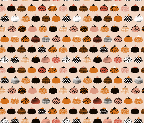 Fall fruit geometric pumpkin design scandinavian style halloween print black and peach orange fabric by littlesmilemakers on Spoonflower - custom fabric