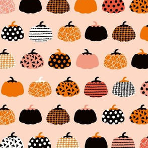 Fall fruit geometric pumpkin design scandinavian style halloween print black and peach orange
