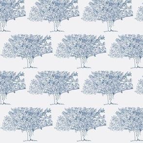 Dogwood Tree_Navy on Gray