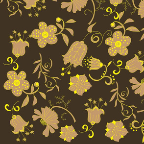 Seamless brown flowers pattern
