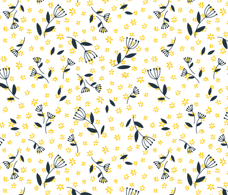 Tiny yellow flowers and black twigs fabric by tatiabaurre on Spoonflower - custom fabric
