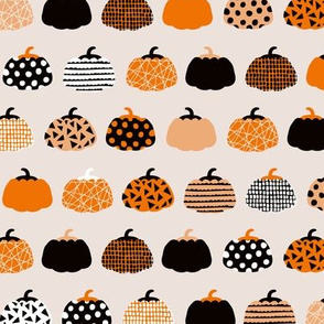 Fall fruit geometric pumpkin design scandinavian style halloween print black and beige orange