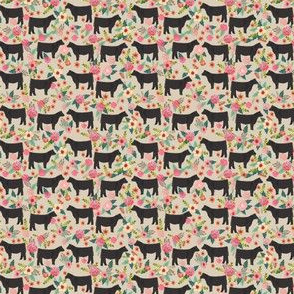 black angus (small scale) floral flowers farm animal fabric tan