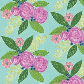 Rosey Floral - Aqua