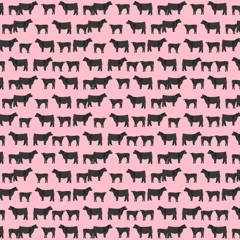 black angus (small scale) farm animal fabric pink fabric by petfriendly on Spoonflower - custom fabric