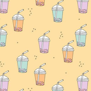 Bubble tea Japanese kawaii trend pastel cups to go yellow pink