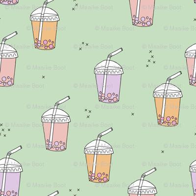 Bubble tea Japanese kawaii trend pastel cups to go peach mint
