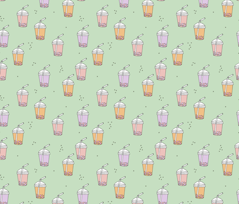 Bubble tea Japanese kawaii trend pastel cups to go peach mint fabric by littlesmilemakers on Spoonflower - custom fabric
