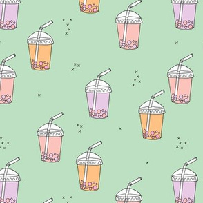 Bubble tea Japanese kawaii trend pastel cups to go peach mint