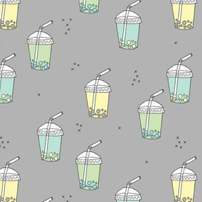 Bubble tea Japanese kawaii trend pastel cups to go gray blue