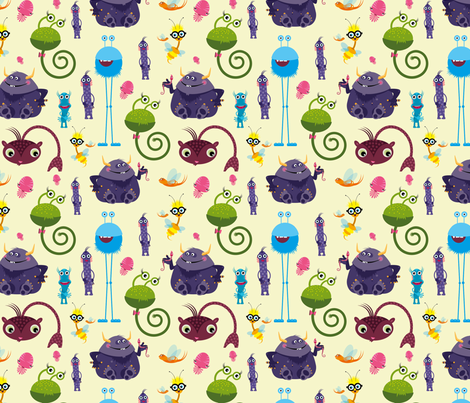 Cute little monsters on light yellow fabric by lucy_&_me on Spoonflower - custom fabric