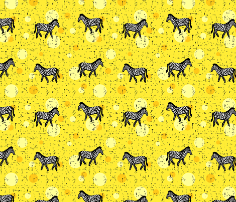 Zebras on yellow fabric by lucy_&_me on Spoonflower - custom fabric