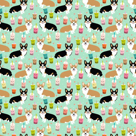 corgi (small scale) red and tricolored boba tea kawaii dog fabric mint fabric by petfriendly on Spoonflower - custom fabric