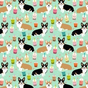 corgi (small scale) red and tricolored boba tea kawaii dog fabric mint
