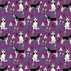 husky (small scale) hiking trail camping dog fabric purple