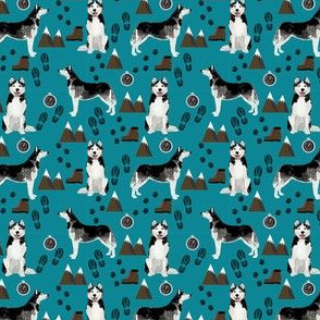 husky (small scale) hiking trail camping dog fabric blue