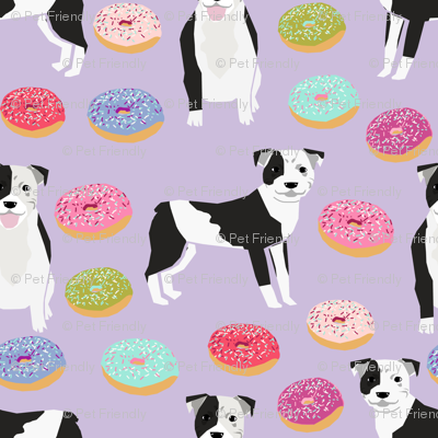 pitbulls (small scale) bw coat donuts dog breed fabric lavender