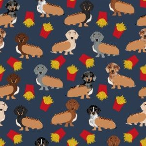 dachshund (small scale) fries hot dogs costumes dog fabric navy