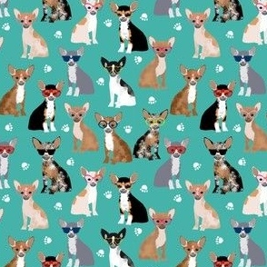 chihuahua (small scale) glasses dog breed fabric blue