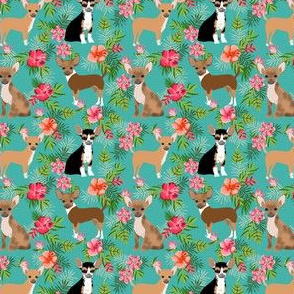 chihuahua (small scale) hawaiian floral dog breed fabric green