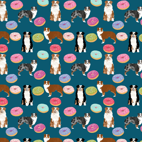 australian shepherds (small scale) donuts dog breed fabric navy fabric by petfriendly on Spoonflower - custom fabric