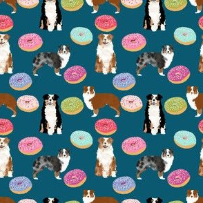 australian shepherds (small scale) donuts dog breed fabric navy