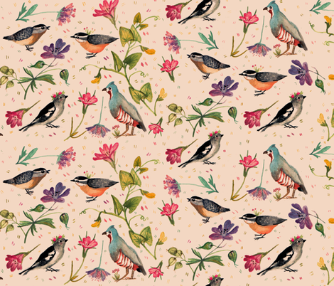 Birds and wildflowers pinky - small scale fabric by gomboc on Spoonflower - custom fabric