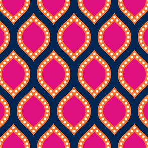 Modern Ogee, SMALL, Pink and Orange