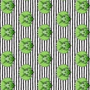 "(1"" scale) Triceratops - green on black stripes - dinosuar C18BS (90)"