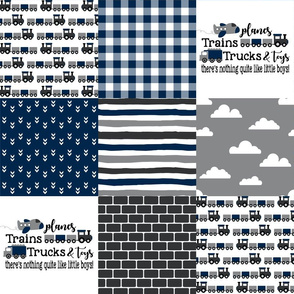 Planes, Trains, Trucks & Toys - Wholecloth Cheater Quilt