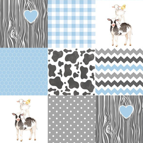 Farm//Love you till the cows come home - baby blue - Wholecloth Cheater Quilt