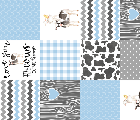 Farm//Love you till the cows come home - baby blue - Wholecloth Cheater Quilt - Rotated fabric by longdogcustomdesigns on Spoonflower - custom fabric