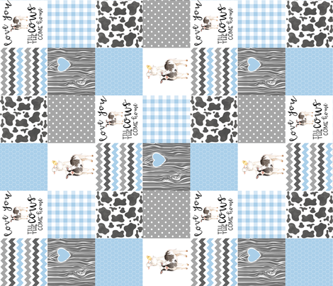 3 inch Farm//Love you till the cows come home baby blue - wholecloth cheater quilt - rotated fabric by longdogcustomdesigns on Spoonflower - custom fabric