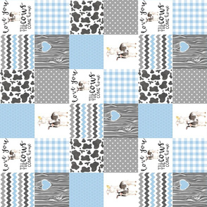 3 inch Farm//Love you till the cows come home baby blue - wholecloth cheater quilt - rotated