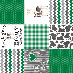 Farm//Love you till the cows come home - Green - Wholecloth Cheater Quilt - Rotated