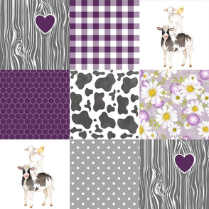 Farm//Love you till the cows come home - Plum - Wholecloth Cheater Quilt