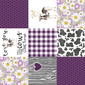 Farm//Love you till the cows come home - Plum - Wholecloth Cheater Quilt - Rotated