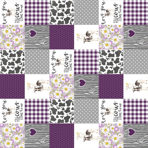3 inch Farm//Love you till the cows come home - Plum - Wholecloth Cheater Quilt - rotated