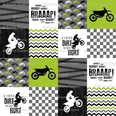 Motocross//A little Dirt Never Hurt - Lime - Wholecloth Cheater Quilt