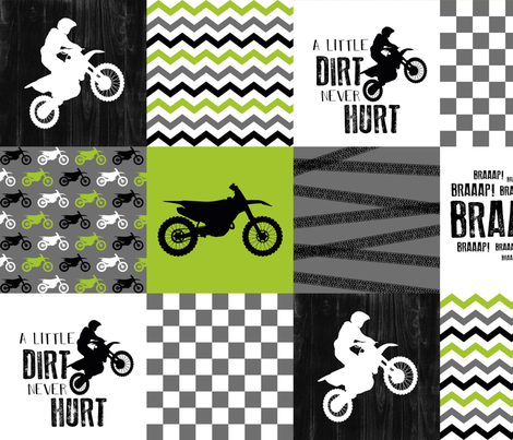 Motocross//A little Dirt Never Hurt - Lime - Wholecloth Cheater Quilt  fabric by longdogcustomdesigns on Spoonflower - custom fabric