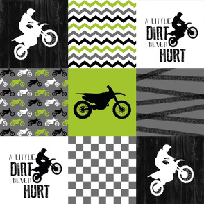 Motocross//A little Dirt Never Hurt - Lime - Wholecloth Cheater Quilt