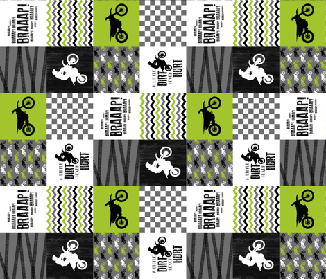 3 inch Motocross//A little Dirt Never Hurt - Lime - Wholecloth Cheater Quilt - Rotated fabric by longdogcustomdesigns on Spoonflower - custom fabric