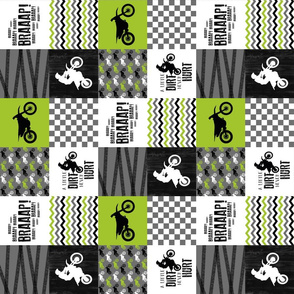 3 inch Motocross//A little Dirt Never Hurt - Lime - Wholecloth Cheater Quilt - Rotated