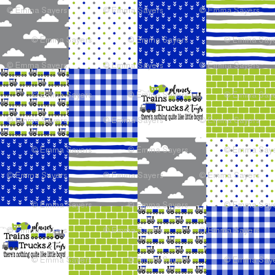 Planes, Trains, Trucks & Toys - Royal Blue/Lime - Wholecloth Cheater Quilt