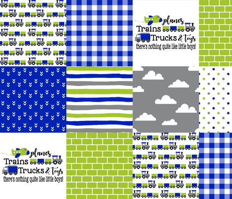 Planes, Trains, Trucks & Toys - Royal Blue/Lime - Wholecloth Cheater Quilt fabric by longdogcustomdesigns on Spoonflower - custom fabric
