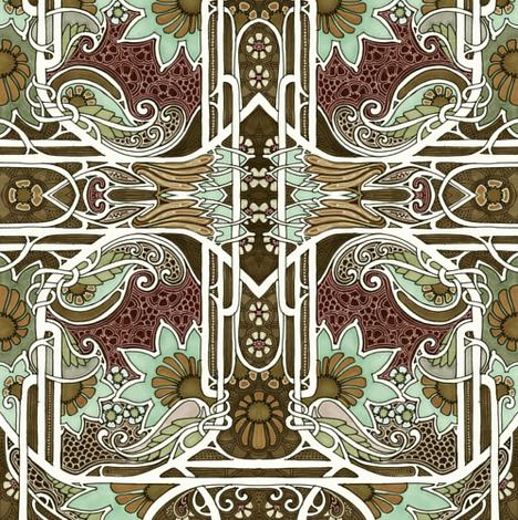 Mint Chocolate Garden fabric by edsel2084 on Spoonflower - custom fabric