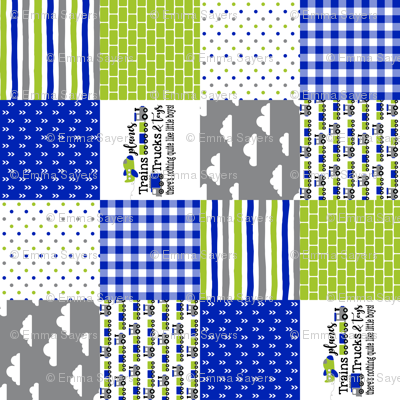 Planes, Trains, Trucks & Toys - Royal Blue/Lime - Wholecloth Cheater Quilt - Rotated