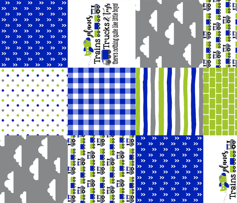 Planes, Trains, Trucks & Toys - Royal Blue/Lime - Wholecloth Cheater Quilt - Rotated fabric by longdogcustomdesigns on Spoonflower - custom fabric