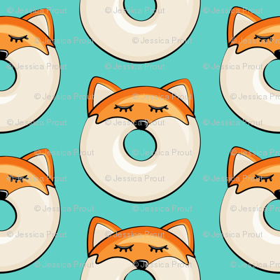 "(1"" scale) fox donuts on teal"
