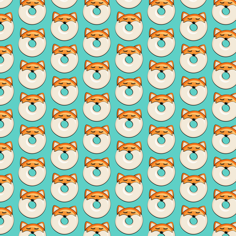 "(1"" scale) fox donuts on teal fabric by littlearrowdesign on Spoonflower - custom fabric"